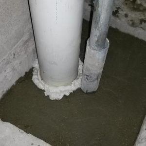 Переборка канализационного стояка с опусканием выпуска в плиту перекрытия