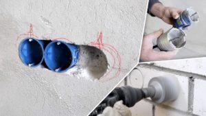 Установка внутренней электроточки в бетонной кирпичной или блочной стене